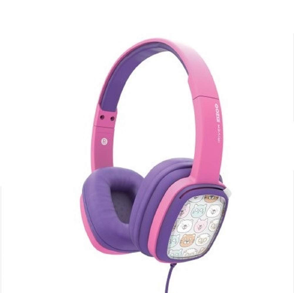 Iriver Character Stereo Headphone for Kids KIZOO_IKH-100, Children Headphones Kids Headphones Children's Headphones, Protection of Children's Hearing (Pink)