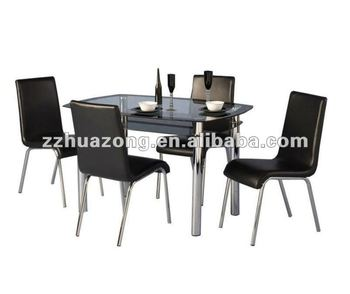 4 Seater Dining Set Black Glass Dining Table And Chrome Chairs