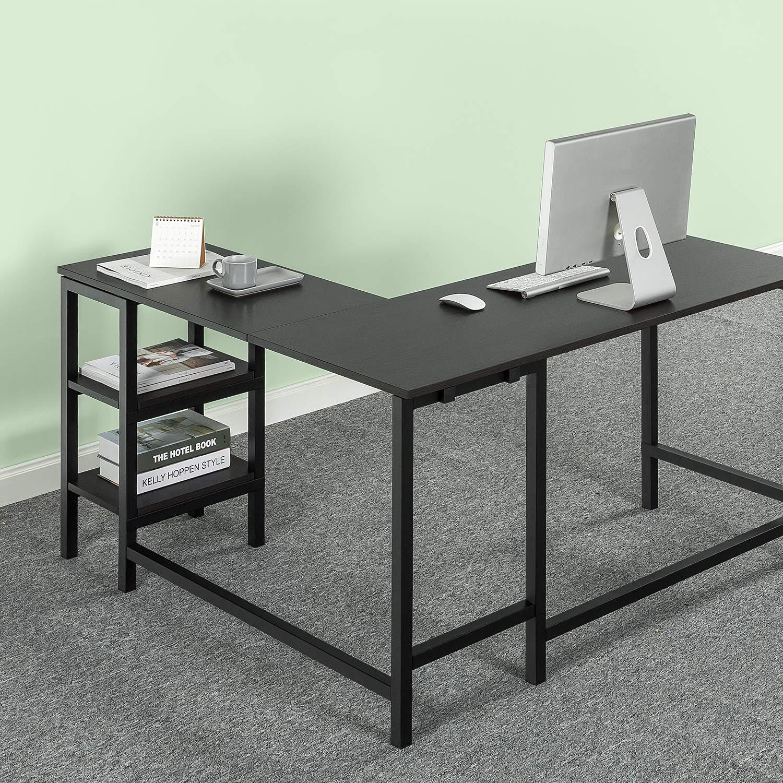 Zinus Urban L-Shaped Corner Computer Desk/Workstation / Home Office with Storage Shelves / Espresso