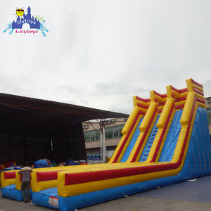 china Manufacturers wholesale gaint inflatable flat water slide double track 0.55 PLATO PVC waterproof water slide inflatable