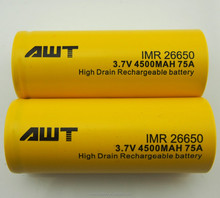 AWT 26650 battery for vape rda 4500mah 75A 26650 battery for vape rda diy box mod kit 26650 regulated box mod