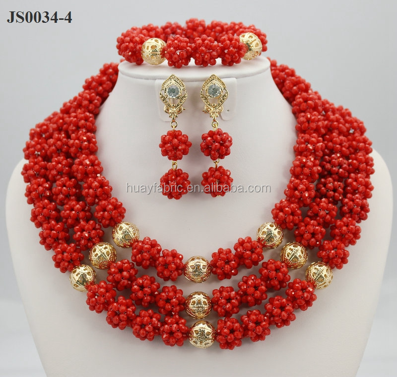 Red Coral Beads Jewelry Sets African Gold Pearls Jewelry Sets JS0034-4