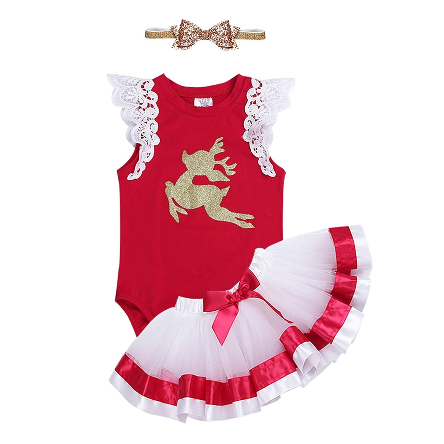 293fcc97a141 Get Quotations · CHICTRY Baby Girls Kids Cute Shiny Christmas Outfits  Flutter Sleeve Romper with Layered Tutu Skirt Headband