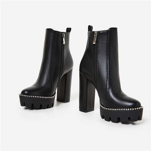 Simple design thick high heel platform winter women ankle boots with side zipper