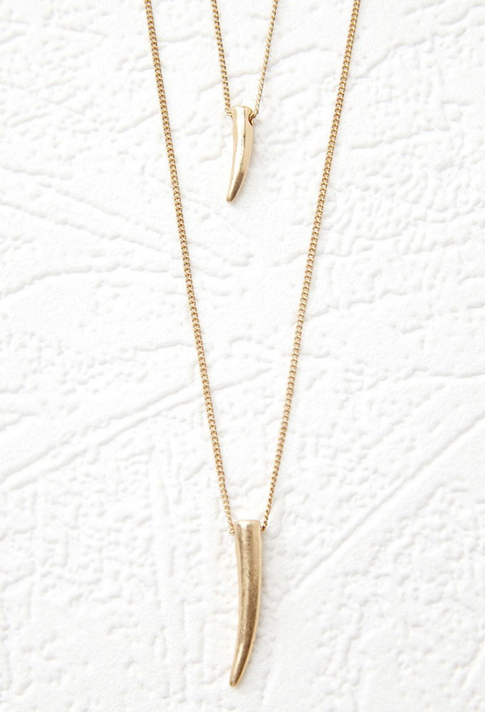 FR1149 Horn necklace two groups Alloy necklace Golden long necklace
