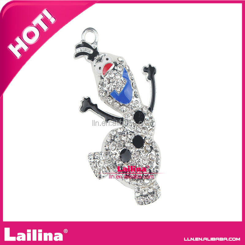 48mm Frozen Winter Snowman Olaf Rhinestone Pendant