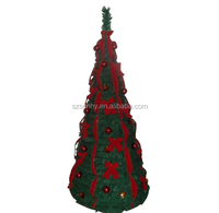 6ft Green Pull Up Poinsettia Christmas Tree