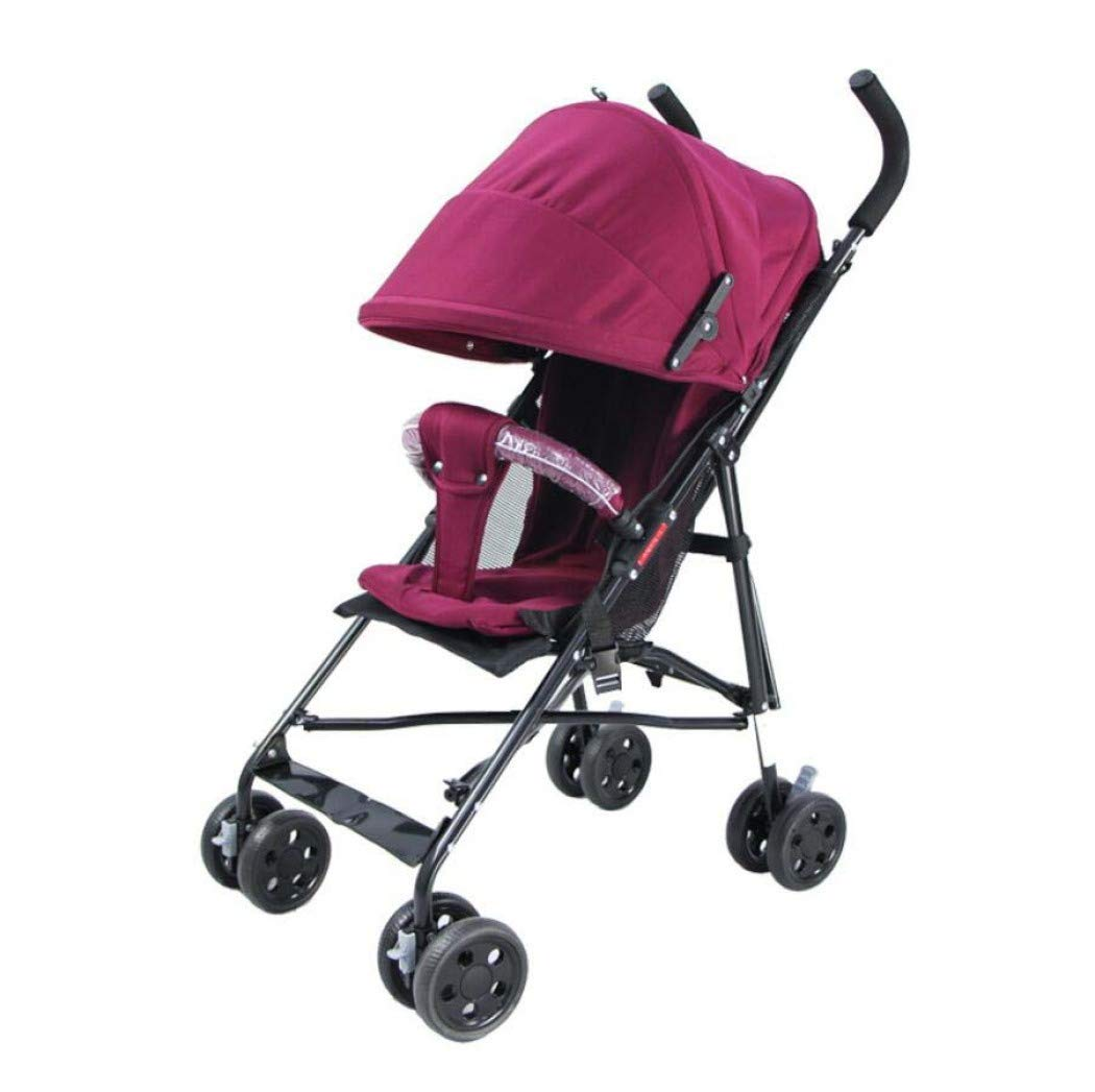 Baby Stroller, Ultra-Lightweight Four Seasons Folding Umbrella Waterproof Shading, Stroller-Four-Wheel Stroller Pram,Purple