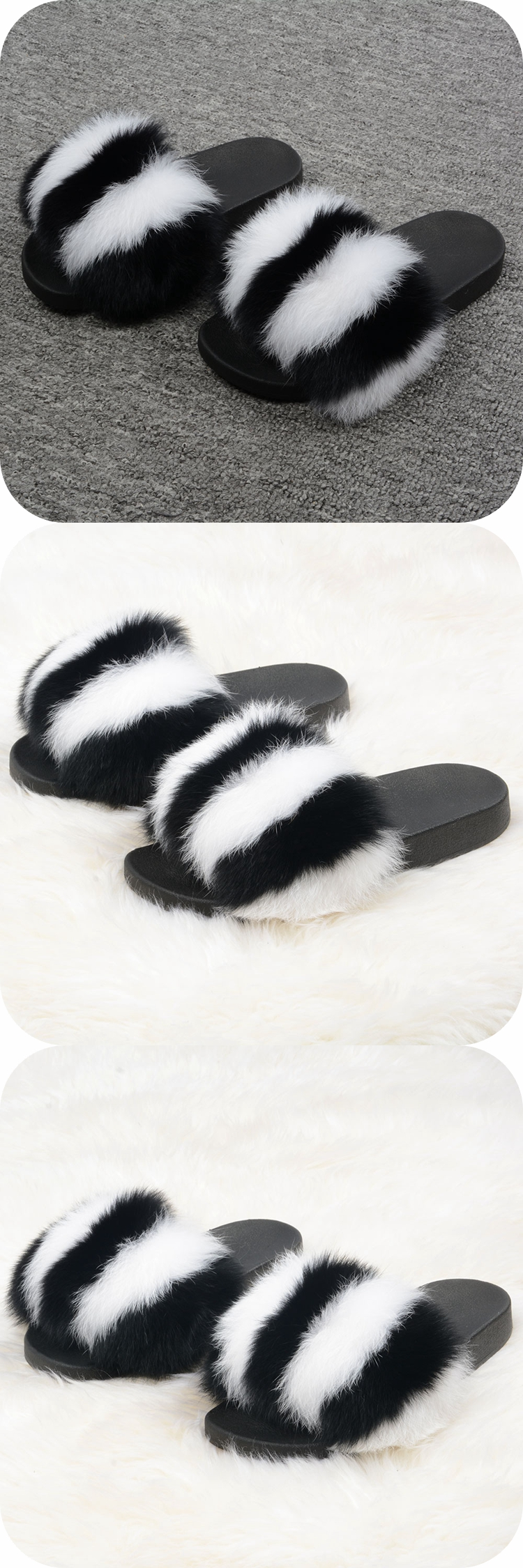 Quality Primacy Black And White Stripes Slides Real Fox Slippers Soft Cozy Fur Sandals