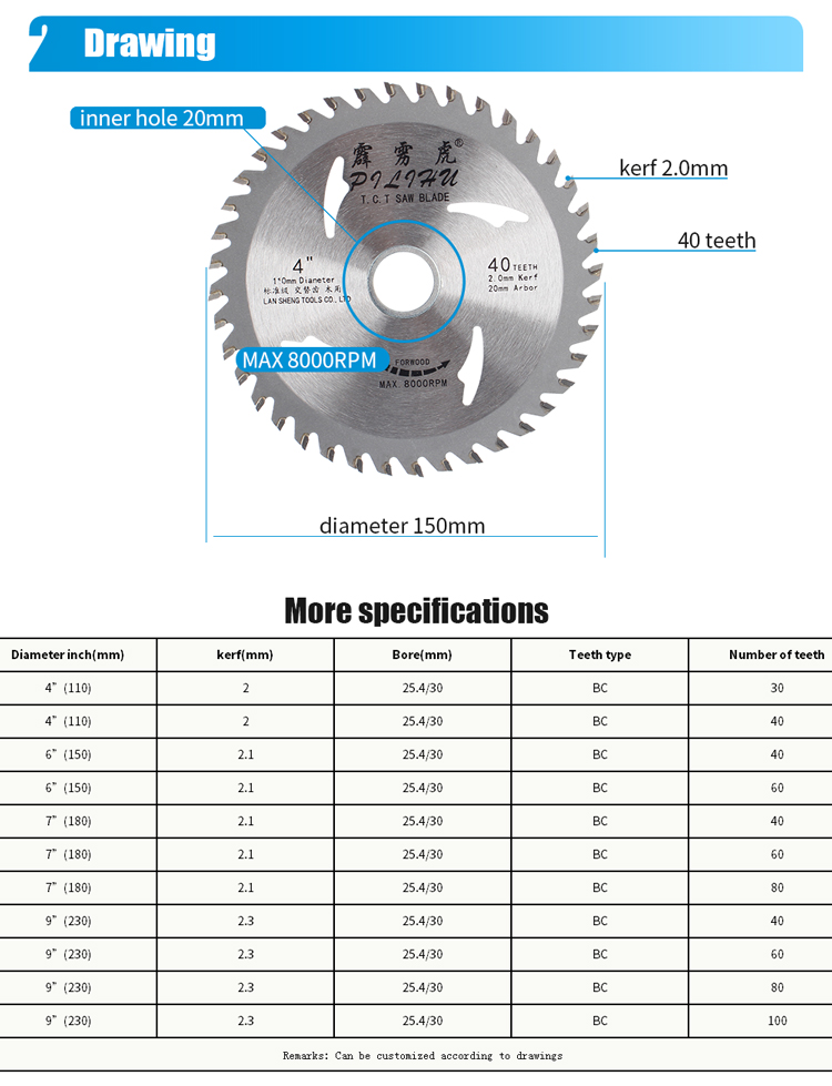 High Quality 110MM 40T Saw Blade For Dry Cutting Woodworking Machine