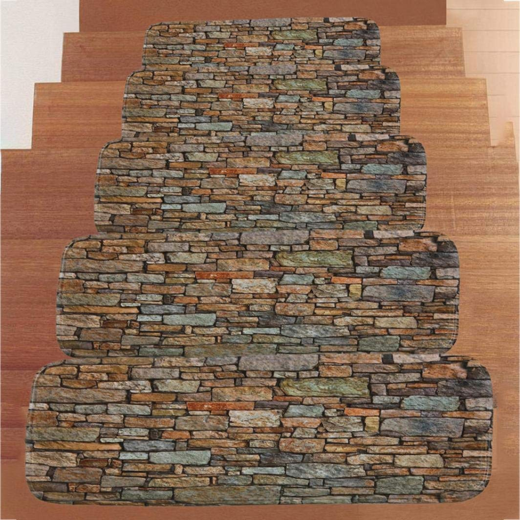 Stair Treads, Transer Indoor Phosphor Stone Pattern Non Slip Rubber Backing Arctic Skid-Resistant Carpet Stair Rug/Covers/Mats - 27.6x8.7 Inch - Pack of 5 (Stone)