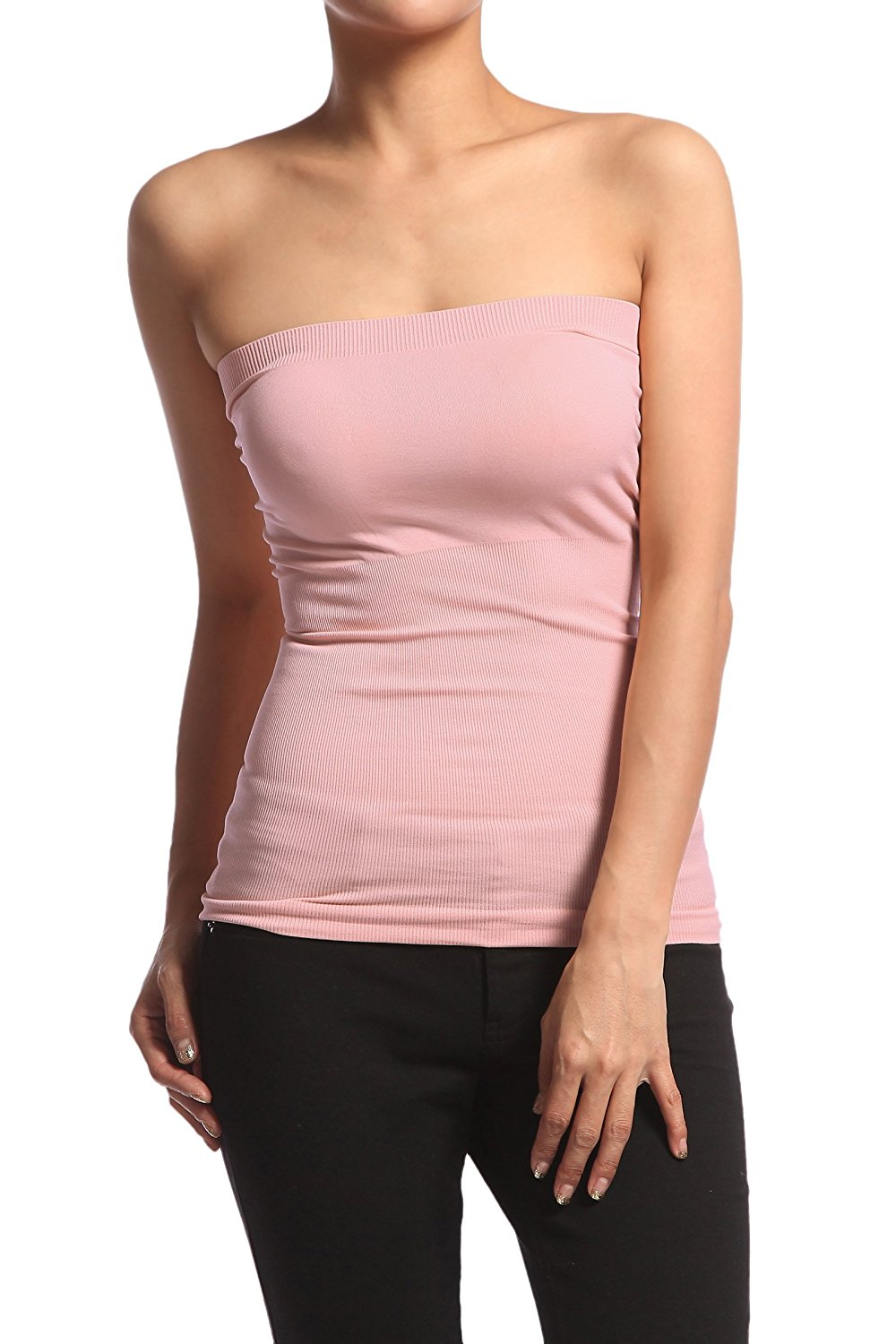 432b583ded Get Quotations · TheMogan Seamless Strapless Bandeau Tube Top Shaping  Ribbed Waist Tank