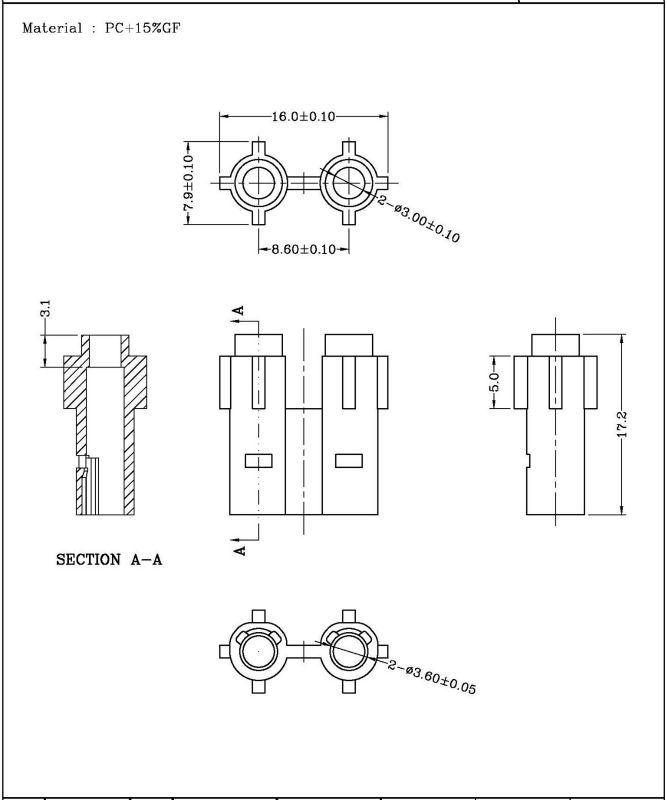 براءات الاختراع 2 دبوس الإناث c7 موصل كهربائي الإسكان لسامسونج سوني