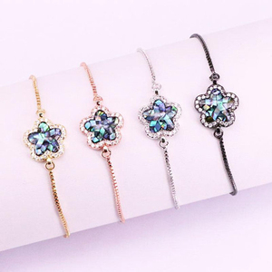 New Micro Pave CZ Abalone Shell Charm Bracelets Beads Connectors Jewerly