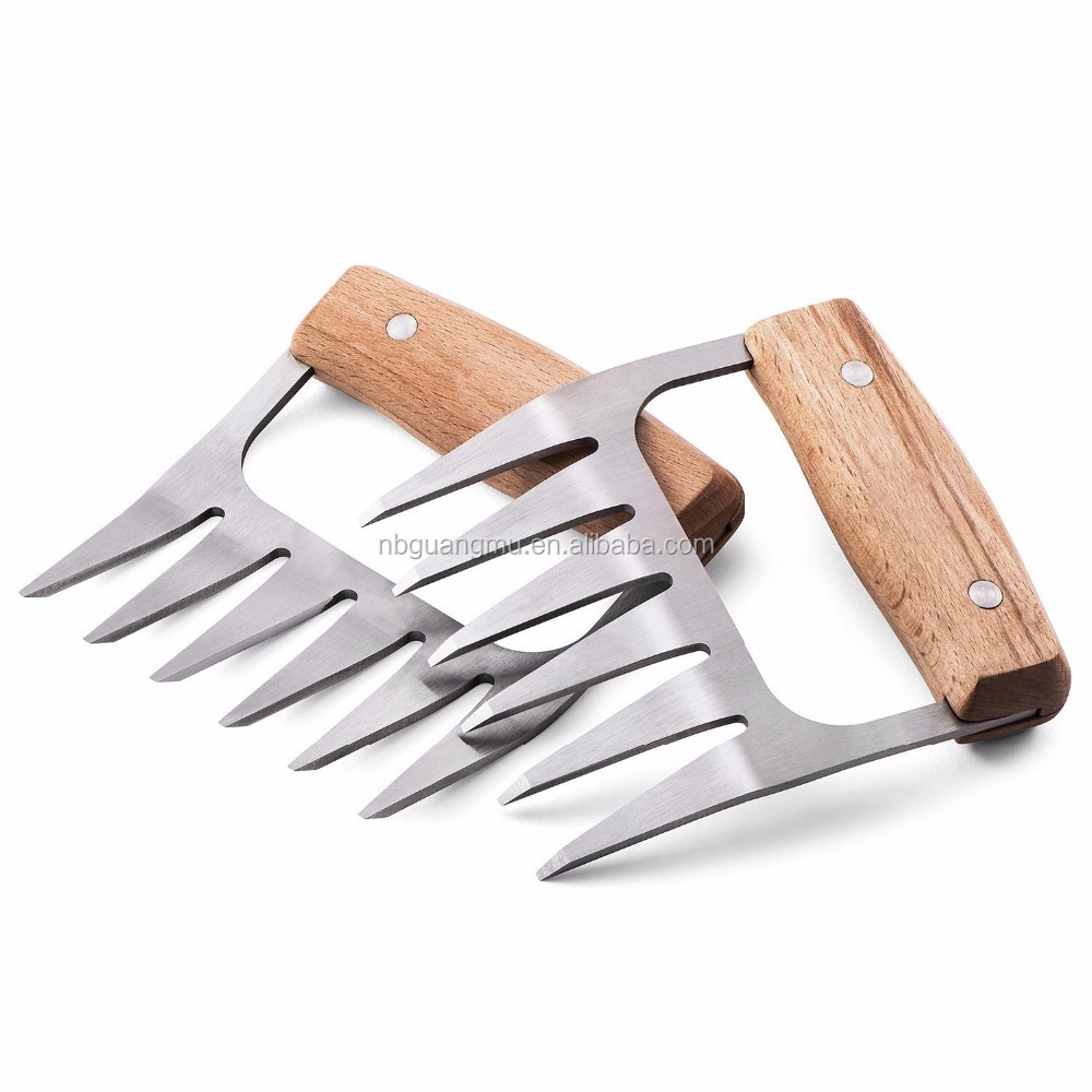 Metal Meat Shredding Bear Claws, Stainless Steel Pulled Pork Shredder Forks With Wooden Handle
