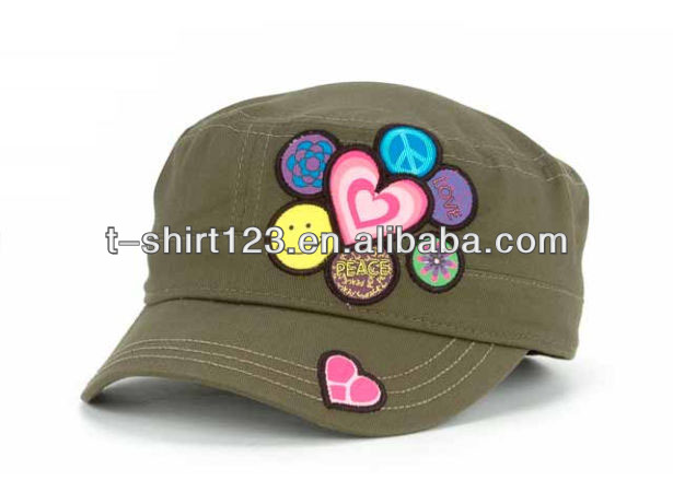 Leisure flat top military cap Kids military cap