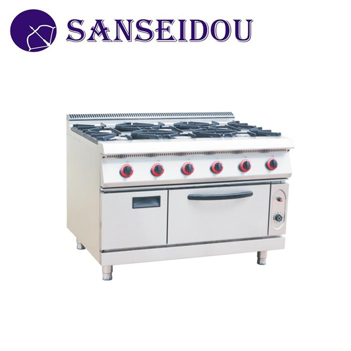 Commercial Gas 6 burners stove restaurant kitchen cooking range gas stove with oven for sale