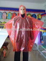 PE red/yellow/clear / blue emergency rain poncho