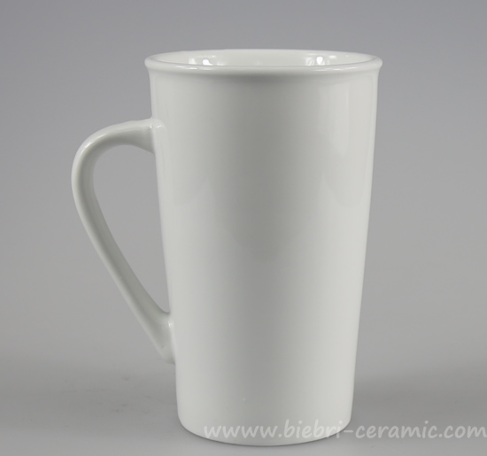 6ba516e38e6 14oz Plain White Tall High Custom Design Ceramic Stoneware Coffee Tea Mugs  Set