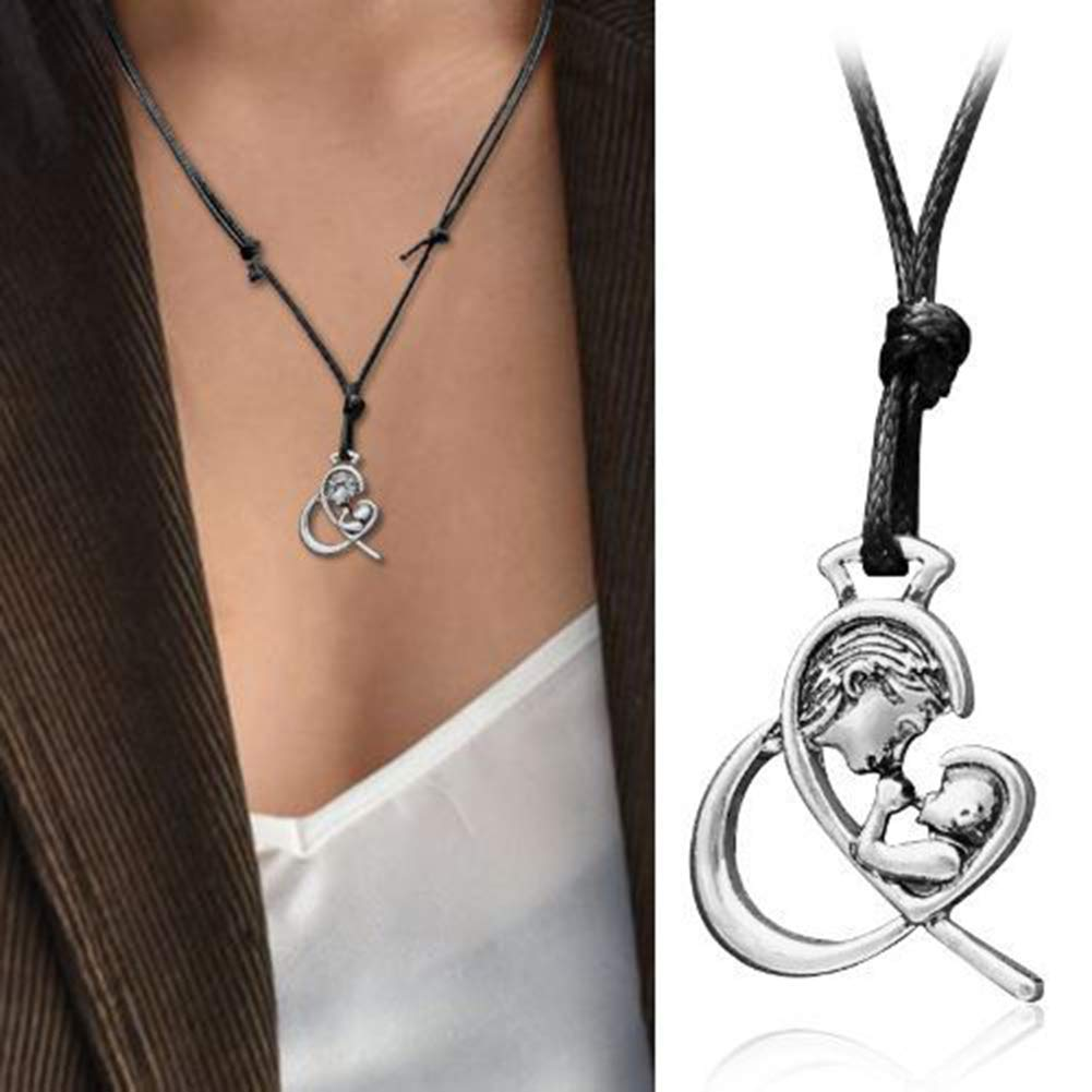 a5e72d666b2 Opeof Necklace Antique Mom Baby Love Heart Pendant Adjustable Rope Necklace  Mother s Day Gift - Antique
