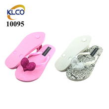 2018 low price custom printing pink silver PE flip flops wholesale