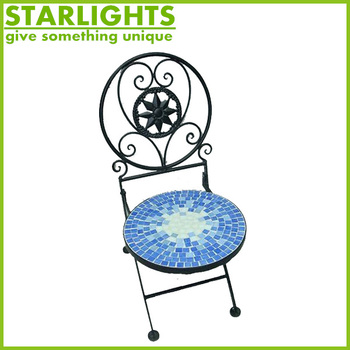 Outdoor Steel Mosaic Chair Garden Folded Mosaic Chairs