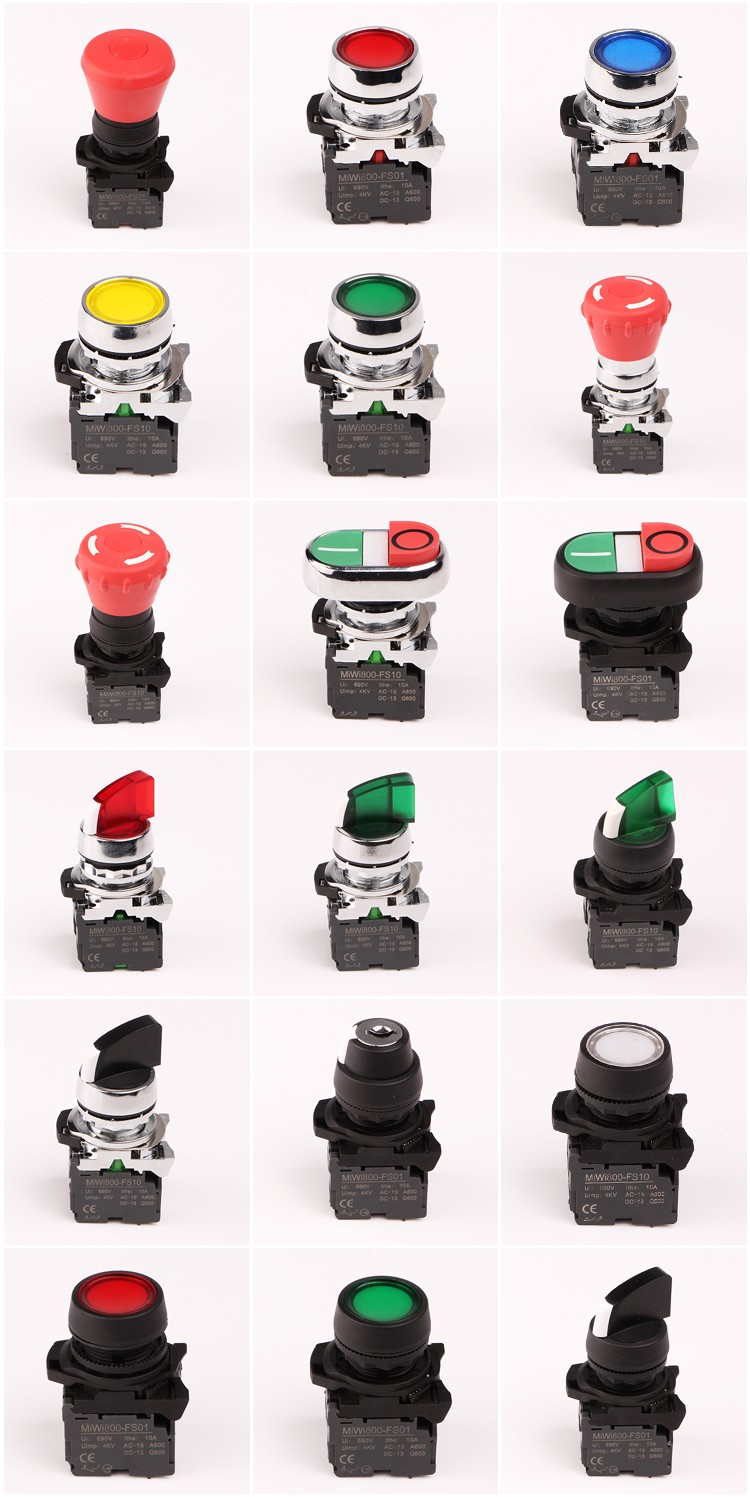 Plastic Push button switch220V 10A Ball head button