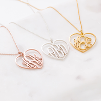 Personalized Silver Rose Gold Choker Pendant Necklace Jewelry Custom Stainless Steel Heart Monogram name necklaces for women