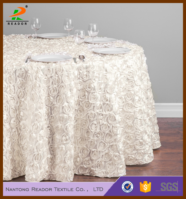 Whosale Cheap Fancy Round Rosette Table Runner Tablecloth Chair Cover  Randiose Wonderland Satin Embroidered Runners For