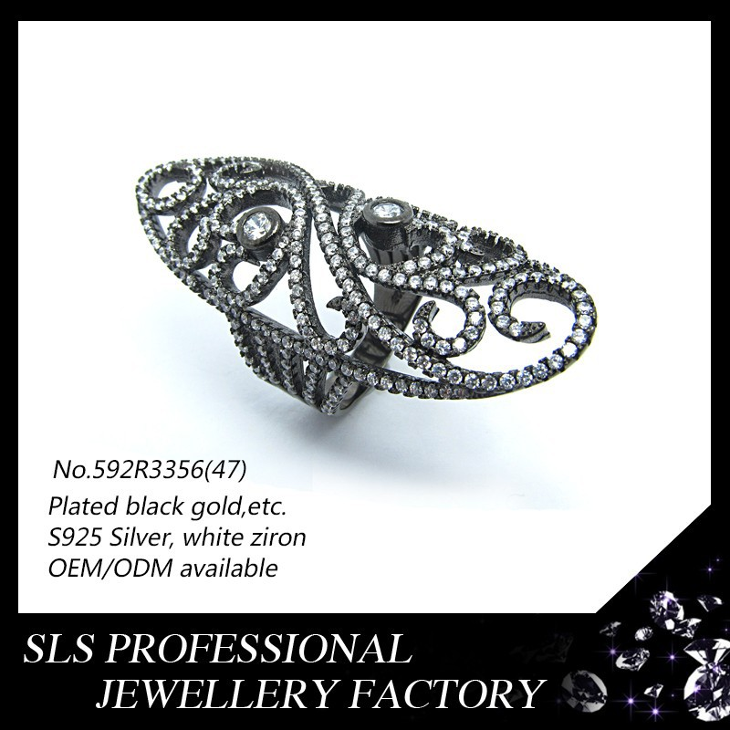Turkish silver antique jewellery 925 rings women's finger rings with black gold plating rings jewelry