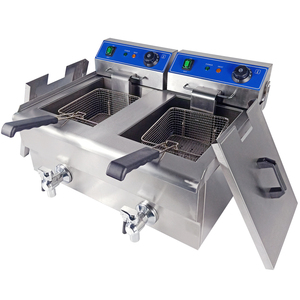 KFC Equipment 20L Electric Double Tank Chicken Potato Chips fryer machine with Cheap Price