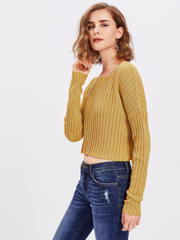 7e5290fac026e1 Ladies Knitted Sweaters Tops Women Vintage Drop Shoulder Rib Knit Crop Long  Sleeve Knitwear Jumper