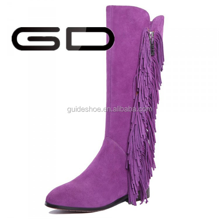 GD Women leather suede fringe boots Purple Tassel long boots