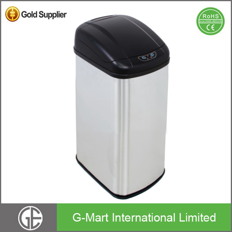 30 Liter or 8Gallon Square Automatic Kitchen Waste Dust Bin Sensor Stainless Steel Auto Lid Trash Bin