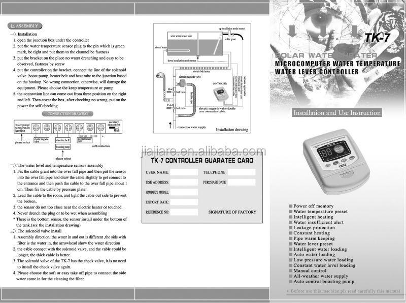 contrôleur d'eau chaude de micro-ordinateur de pièces de chauffe-eau solaire
