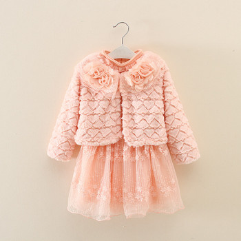 2017 baby girls dress winter garment fashion fur coat+ lace dress long  sleeve dress coat set ce8c5f382dde
