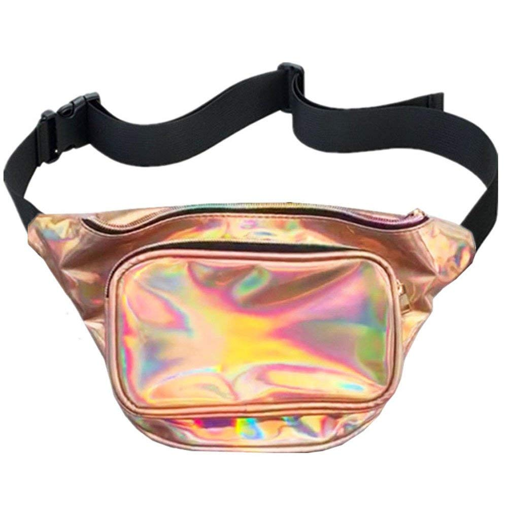 MSFS Women Holographic Bum Waist Bag Laser Funny Bag Waterproof Shiny Neon Pack for Travel Festival Beach