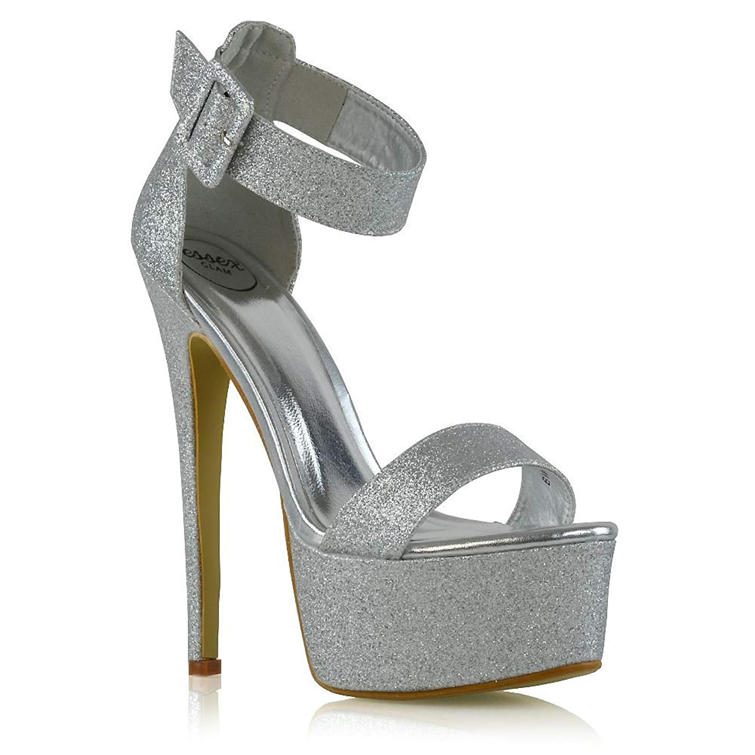 ef08aaac9a5 Get Quotations · ESSEX GLAM Womens Ankle Strap Open Toe Stiletto Heel  Platform Shoes