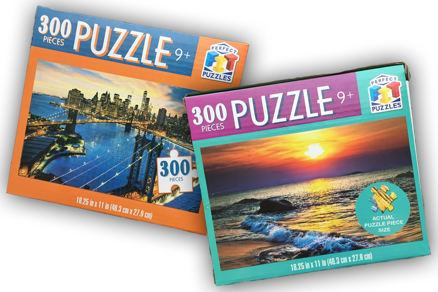 Perfect Fit Puzzles (Set of 2 Scenic Picture Boxes) - 300 Piece Jigsaw Puzzle for Kids or Adults / Travel or Home