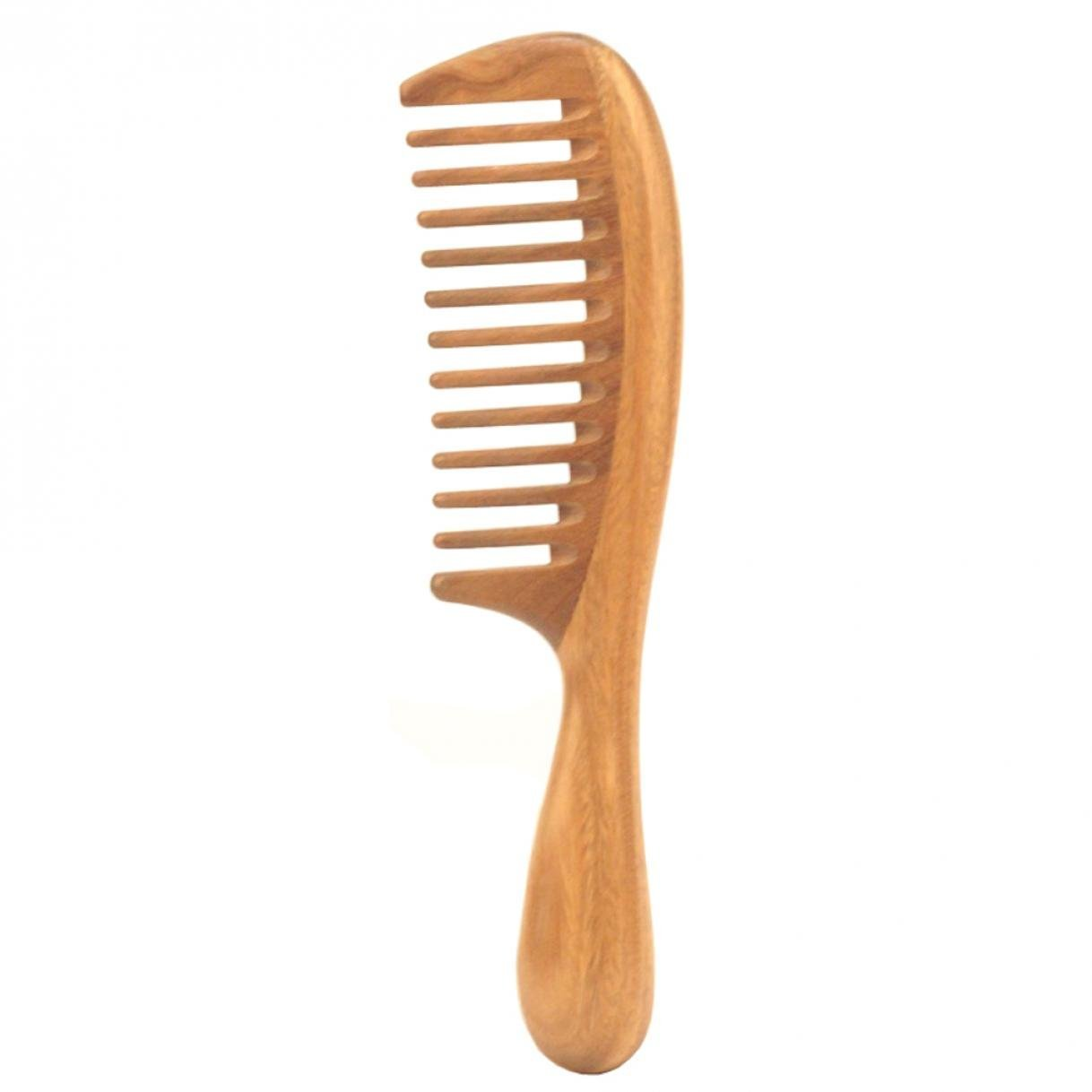 LOUISE MAELYS Natural Sandalwood Wooden Comb Wide Tooth Detangling Hair Comb for Thick Curly Hair