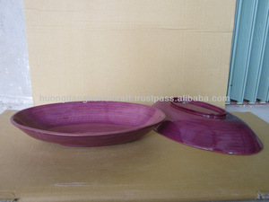 Violet boat shape bamboo plate, oval bamboo plate for fruit holder, full purple bamboo plate