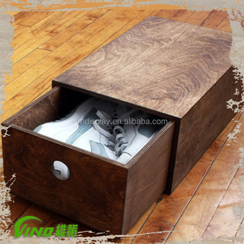 Custom Printed Shoe Box, Wood Box For Shoes, Wooden Storage Boxes With Lid