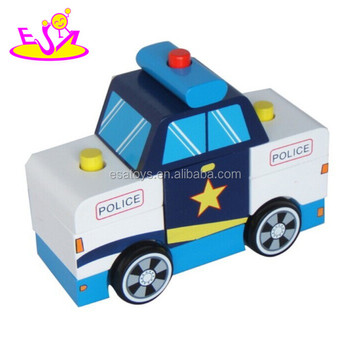 New Style Big Wooden Police Toy Promotional Toy Kids Police Mini Car