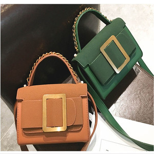 2018 Women Fashion Handbags Big Buckle Decated Elegent Style PU Leather Handbags Wholesale