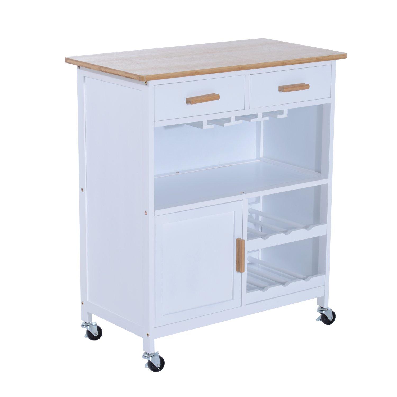 "HomCom 30"" Rolling Kitchen Trolley Serving Cart with Wine Rack & Stemware Storage - White/Bamboo"