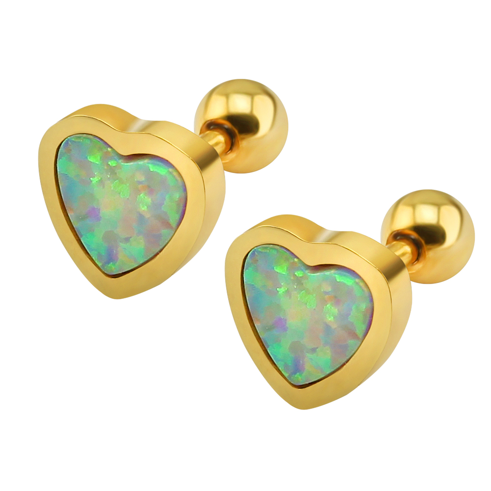 Red Green White Opal heart shape gold plated stainless steel superstar accessories earrings