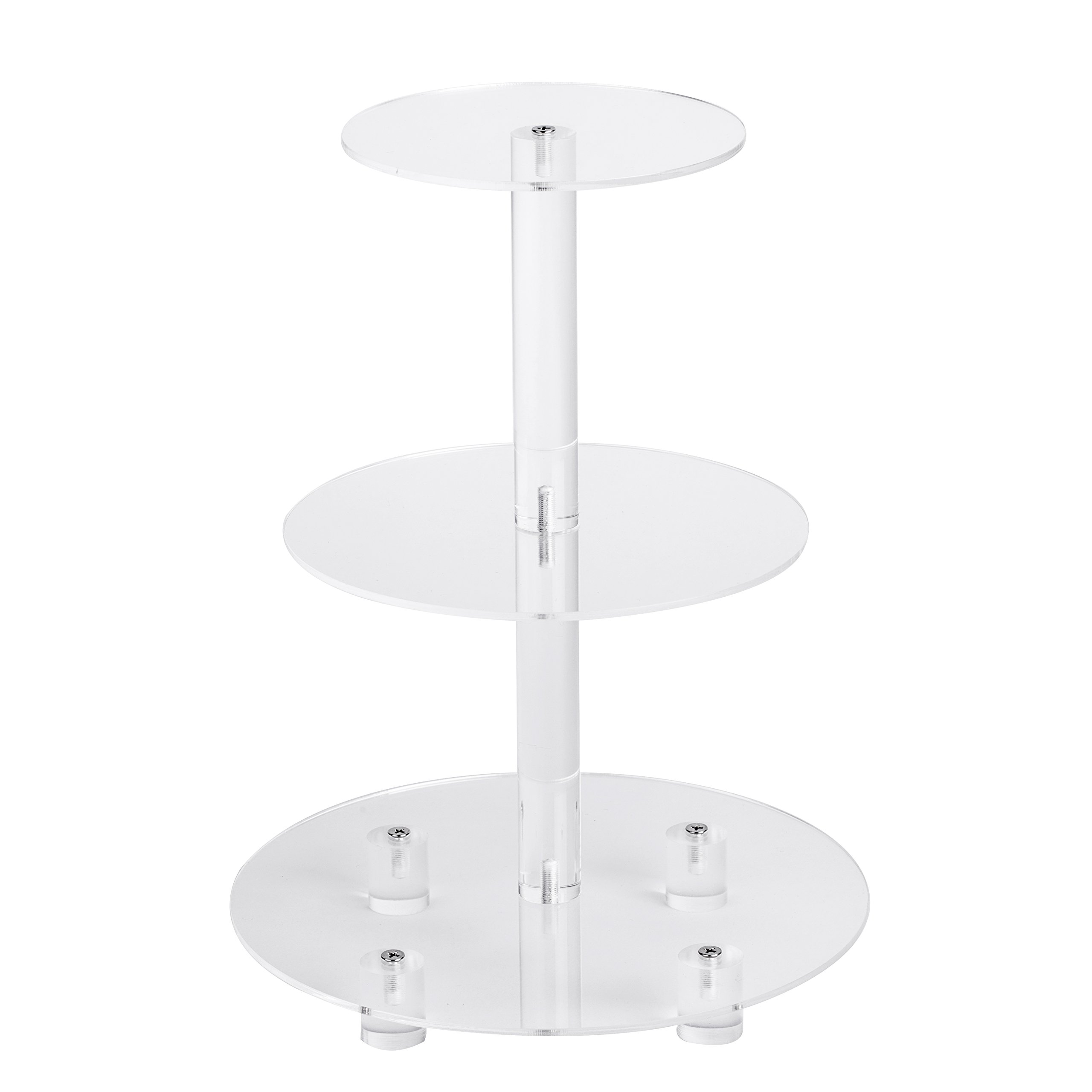 """YestBuy 3 Tier Maypole Round Wedding Party Tree Tower Acrylic Cupcake Display Stand (3 Tier Round with Base(6"""" between 2 layers))"""