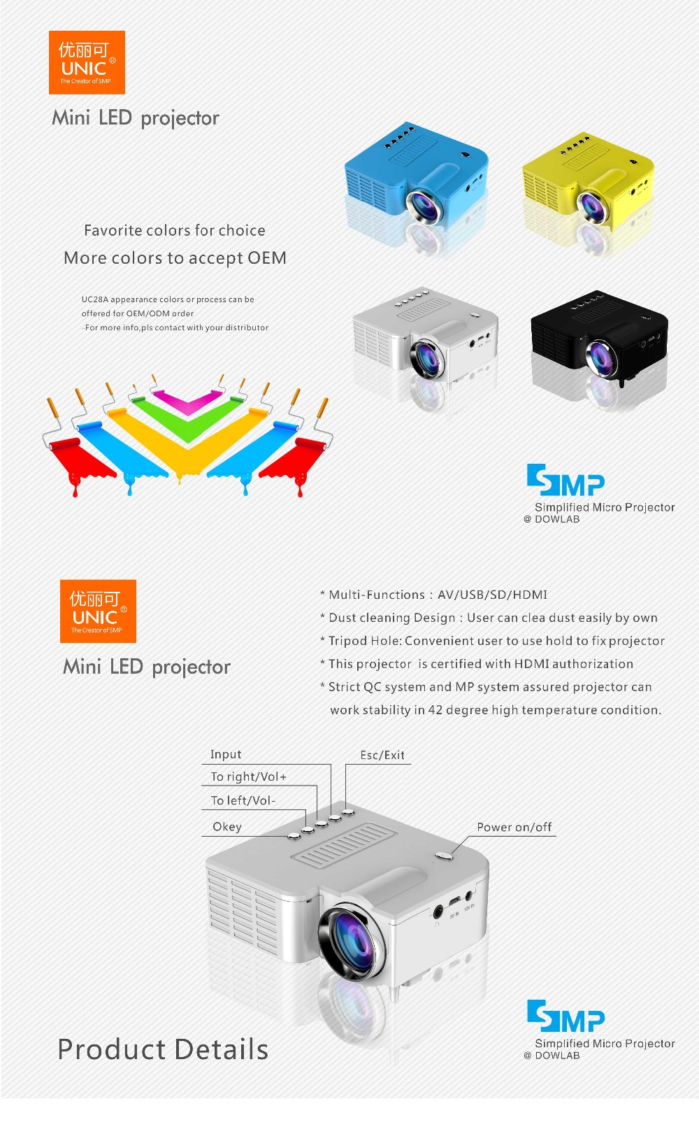 2017 new Cheapest!!! 50lumens led projector,micro projector,mini projector UC28A