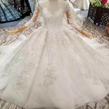 Alibaba Wedding Dress Puffy Skirt Ball Gown Wedding Dresses with Long Sleeves back See Through Nude