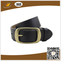 Vintage Classical Design Leather Belt With Brass Color Pin Buckle